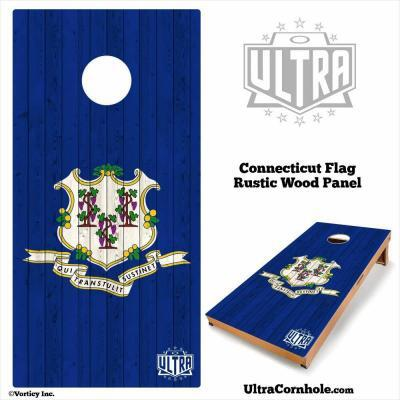 Connecticut- Rustic Wood Custom Cornhole Board