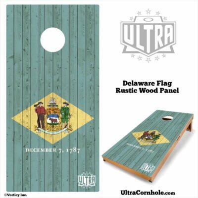 Delaware- Rustic Wood Custom Cornhole Board