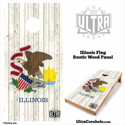 Illinois- Rustic Wood Custom Cornhole Board
