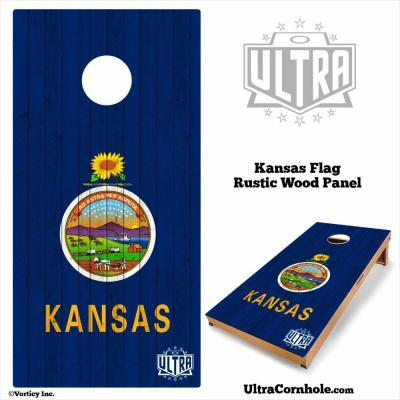 Kansas - Rustic Wood Custom Cornhole Board