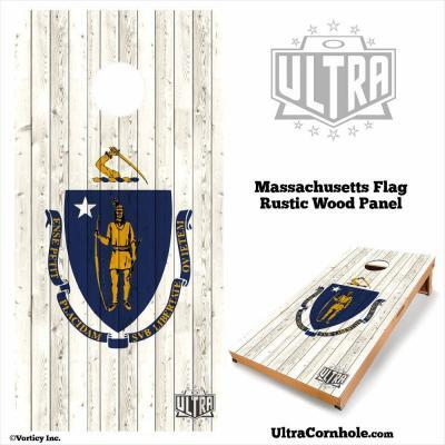 Massachusetts - Rustic Wood Custom Cornhole Board