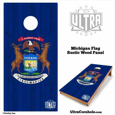 Michigan - Rustic Wood Custom Cornhole Board