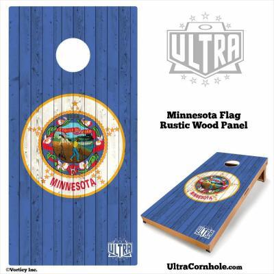 Minnesota - Rustic Wood Custom Cornhole Board