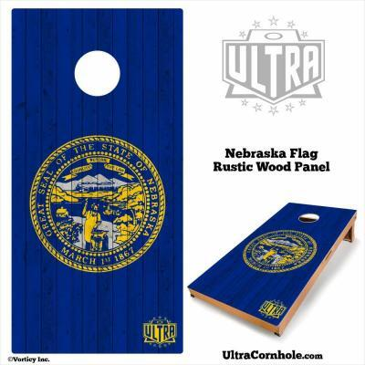 Nebraska - Rustic Wood Custom Cornhole Board