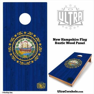 New Hampshire - Rustic Wood Custom Cornhole Board