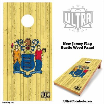 New Jersey - Rustic Wood Custom Cornhole Board