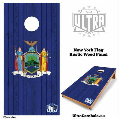 New York - Rustic Wood Custom Cornhole Board