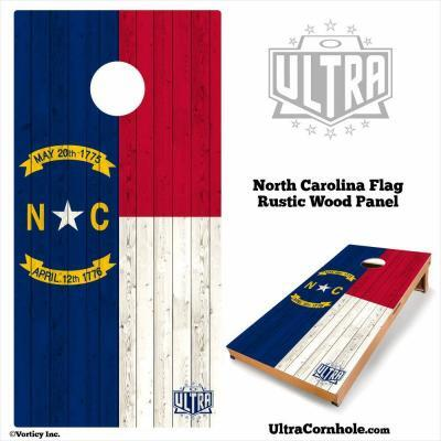 North Carolina- Rustic Wood Custom Cornhole Board