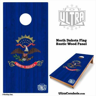 North Dakota - Rustic Wood Custom Cornhole Board