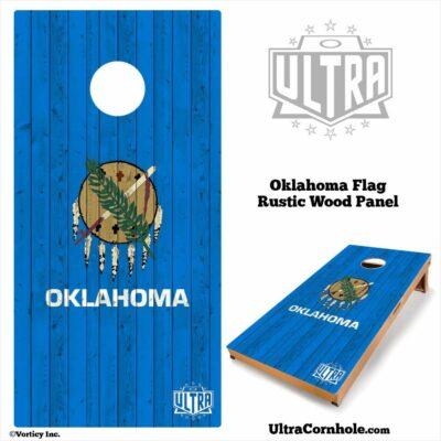 Oklahoma - Rustic Wood Custom Cornhole Board
