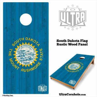 South Dakota - Rustic Wood Custom Cornhole Board