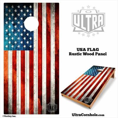 USA - Rustic Wood Custom Cornhole Board