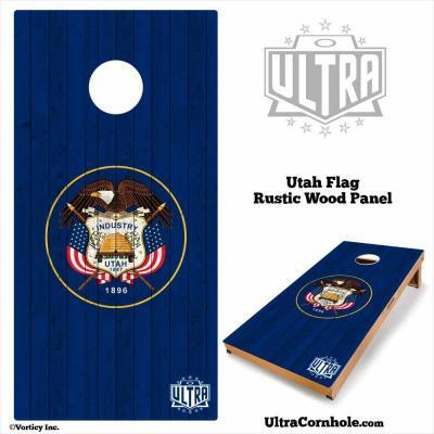 Utah - Rustic Wood Custom Cornhole Board