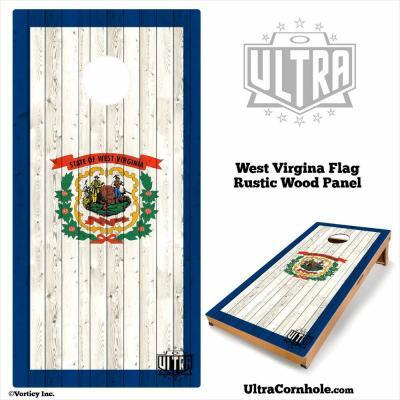 West Virginia - Rustic Wood Custom Cornhole Board
