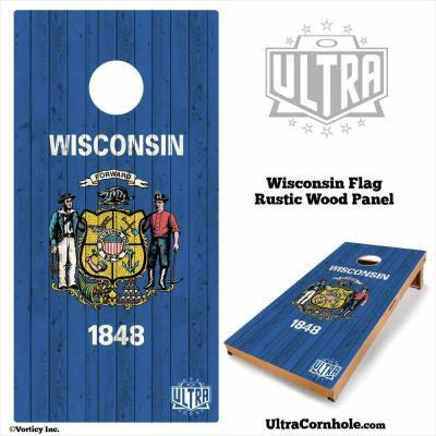 Wisconsin - Rustic Wood Custom Cornhole Board