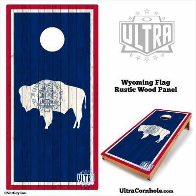 Wyoming - Rustic Wood Custom Cornhole Board